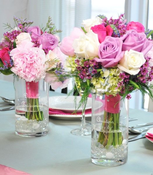 Wedding Head Table Flowers: Use The Bridesmaids' Bouquets As Decorations For The Head