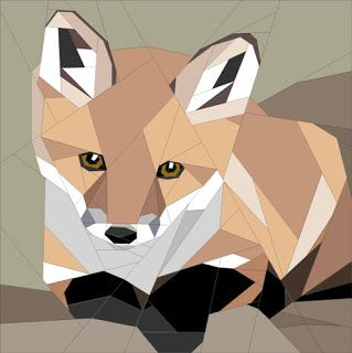 Quilt Art Designs: BOM, single fox pup from Wild Babies