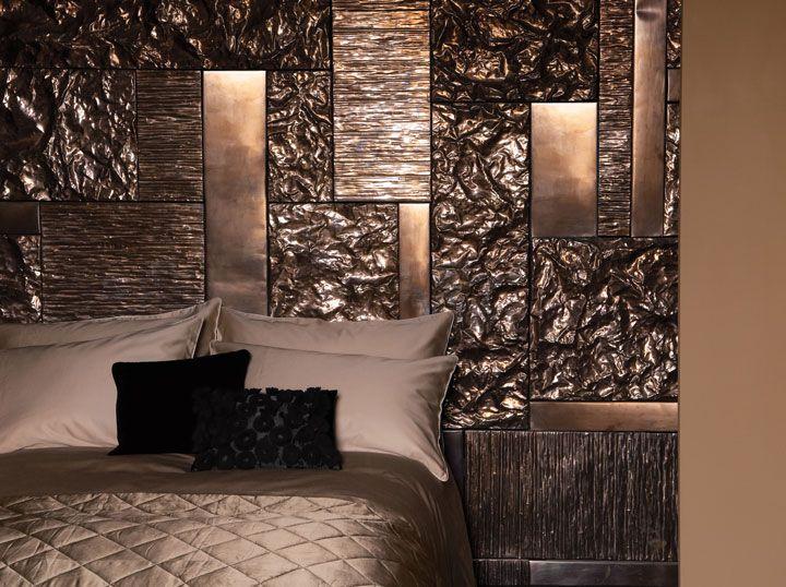 Textured Metallic Paint Effect On Bedroom Wall Akzonobel