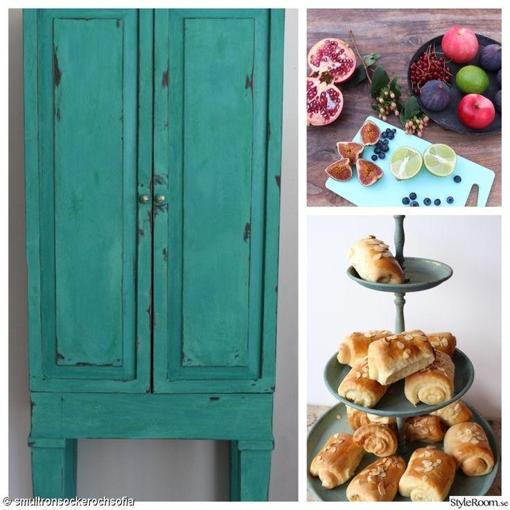 turkos,kakfat,skåp,bullar,målade möbler
