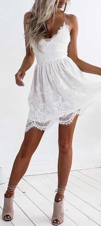 #summer #outfits / white lace dress