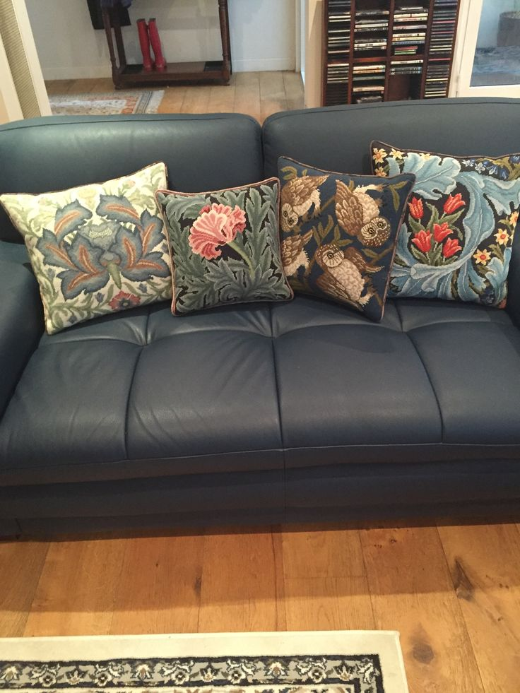 Lynne Harrison sent us this picture of some of our cushions she has completed over the years. Left to right: Artichoke 3, William Morris Tulip, Owls, and William Morris Panel cushion.