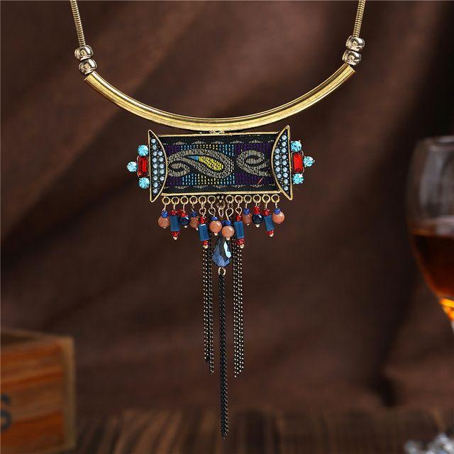 2016 новый этнические украшения ожерелья Boho античная золотая цепочка с красочными ленты геометрическая кисточкой ожерелье женский