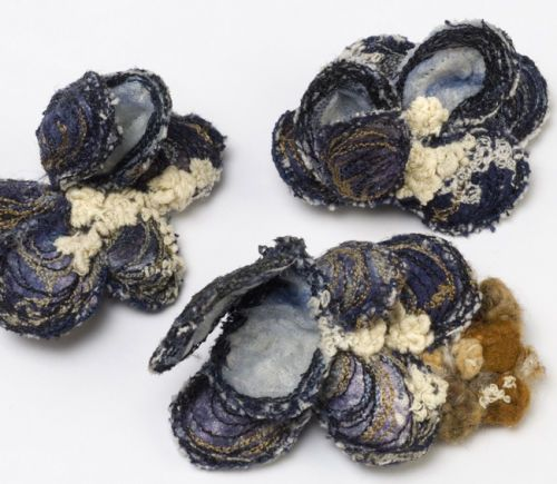 A Selection of my Embroidered mussel brooches