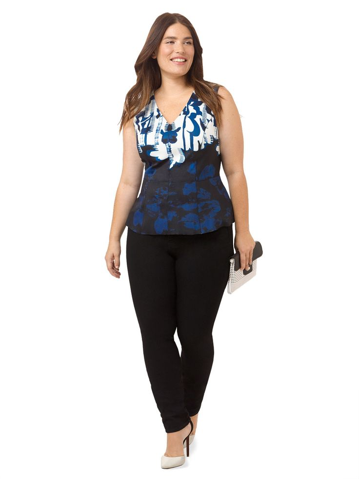 Abstract Floral Peplum Top
