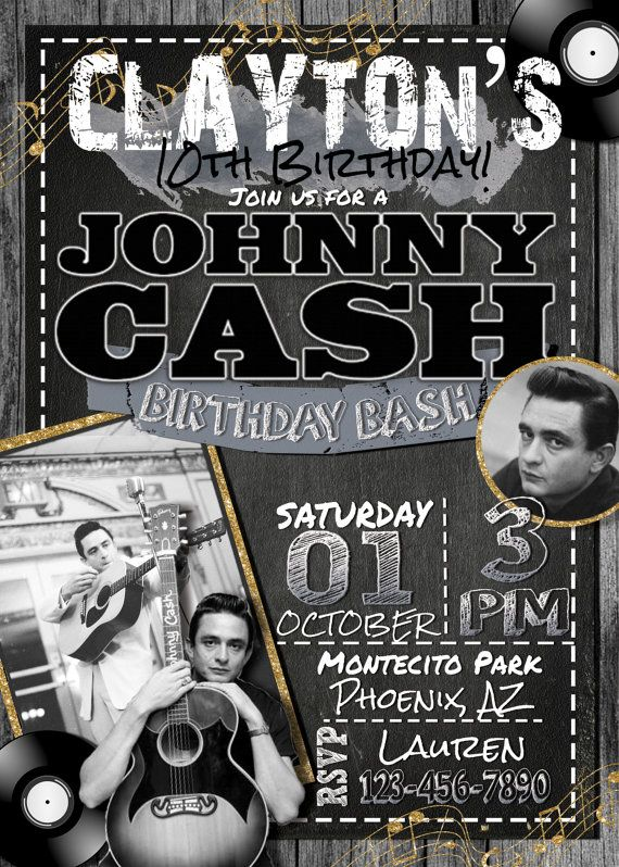 Johnny Cash Birthday Invitation | Johnny Cash Invite | Johnny Cash Birthday Party | Johnny Cash Party | Printable |   Hey friend! Thanks a bunch for your interest in one of handmade digital printables. I truly hope its exactly what you wanted!  This item is a personalized PRINTABLE, single-sided, either 4x6 or 5x7 invitation. You can either have the choice of printing it in the comfort of your home, or at any print/photo shop. All of my printables will be sent to you via email only for ...