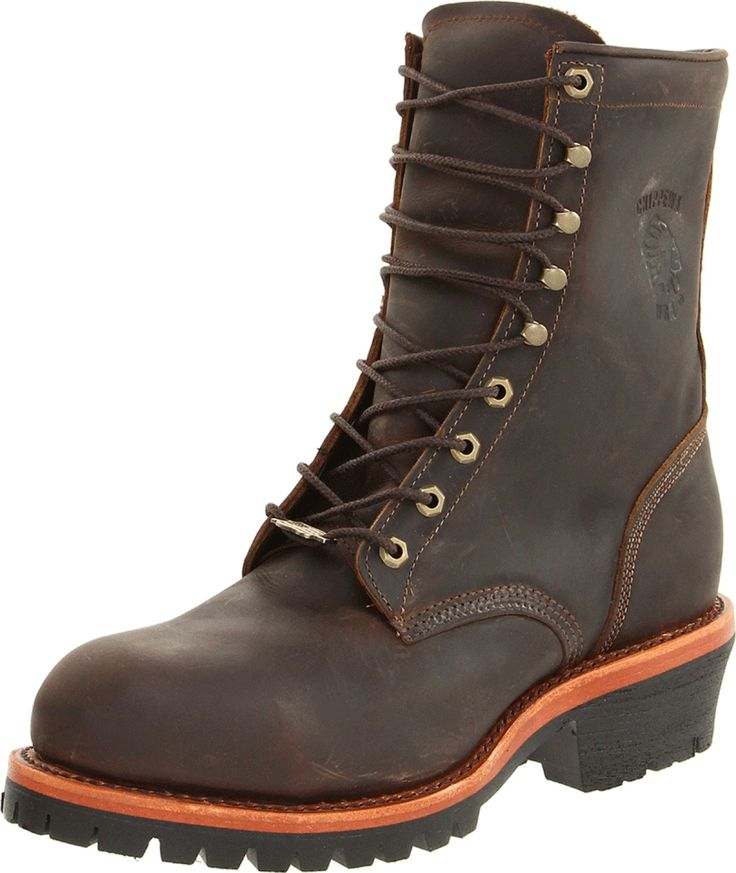 """On list of """"Best Logger Boots."""" Logger boots good for uneven terrain. Chippewa Men's Apache Steel Toe Logger Boot"""