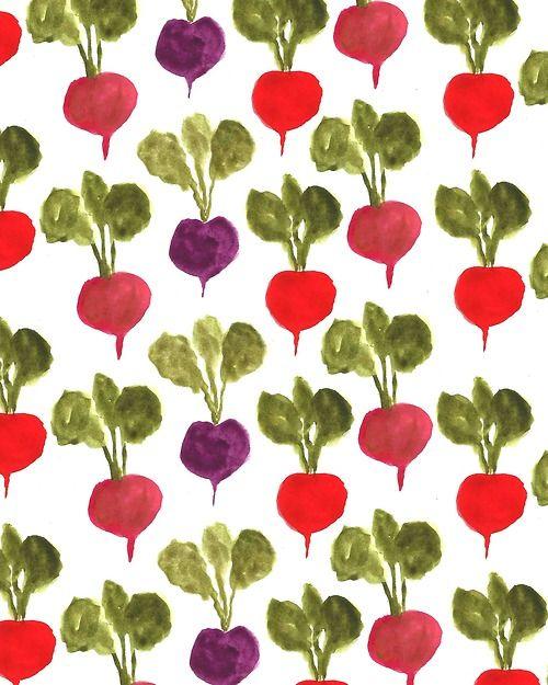 radishes, veg, repeat pattern, design, illustration, painting, food