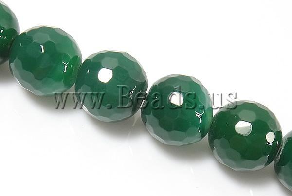 Естественная зеленый агат бусины, Дизайнер ювелирные изделия, Круг, Граненные, 10 мм, Разрез : приблизительно 1,5 - 2 мм