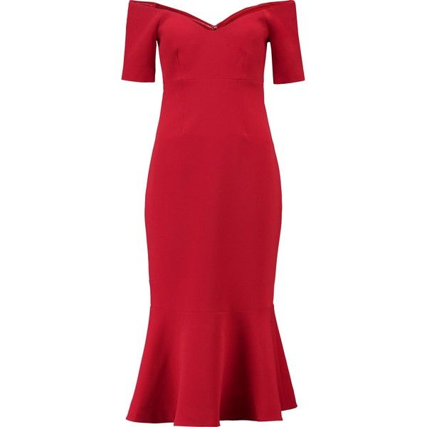 Cinq A Sept Marta Off The Shoulder Fluted Crepe Midi Dress 7 395 Uah Liked On Polyvore Featuring Dresses Red Midi Dress Off Shoulder Dresses Crepe Fabr