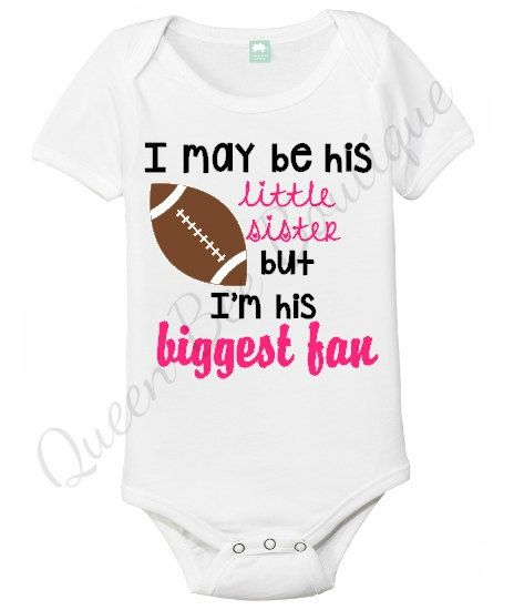 Little sister onesie football sister onesie by QueenBeeBoutique127