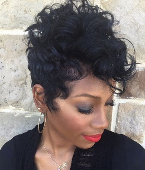 African American Curly Pixie with Bangs-Pixie Haircuts with Bangs