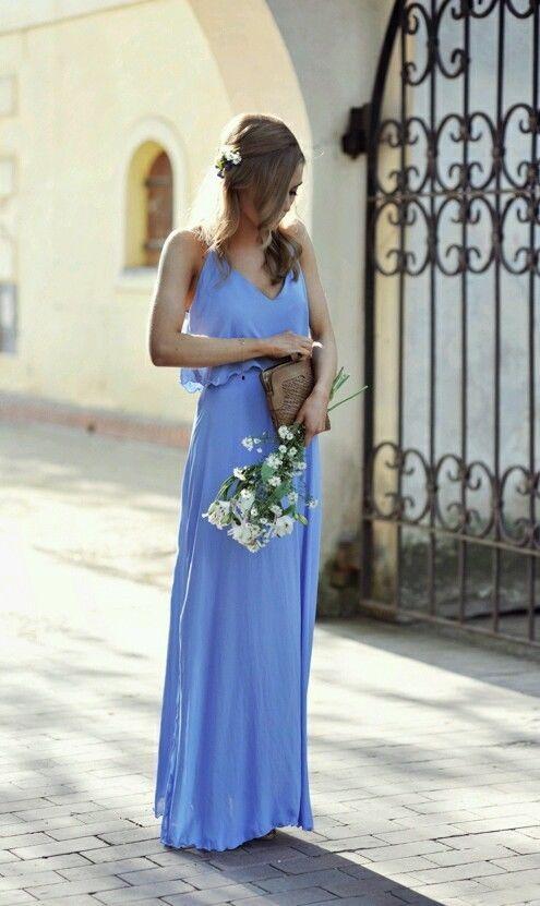 Zara kleid sky blue long maxi ruffled draped dress size s ...