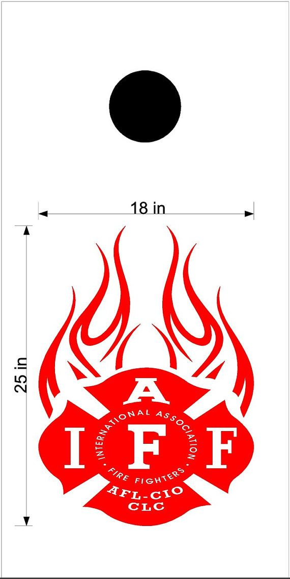 Fire Department IAFF Cornhole Board Decals Flag by StickerChef