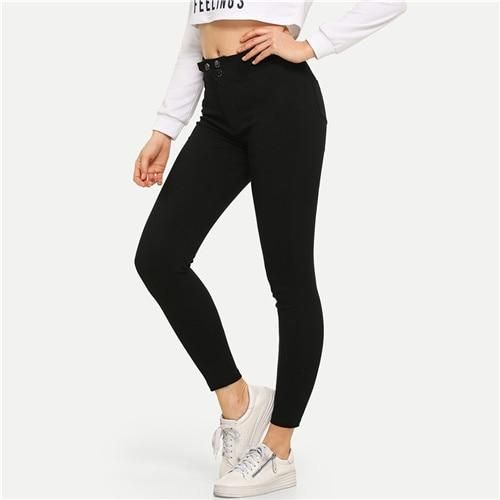 Solid Button Waist Ankle Jeans Streetwear Black Casual Stretchy Denim Pants 2019 Spring Women Active Skinny Jeans Black S