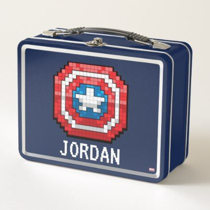 16-Bit Pixelated Captain America Shield Metal Lunch Box - decor gifts diy home & living cyo giftidea