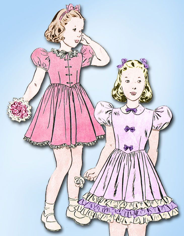 1940s Vintage Butterick Sewing Pattern 6480 Little Girls Ruffled Party Dress Sz7