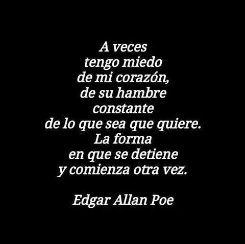 Aveces le tengo miedo al corazón por el hambre que tiene de amar...  / Edgar Allan Poe.