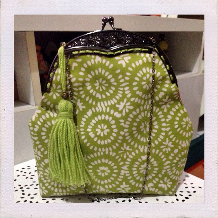 Green Batik Garut Frame bag with tassel