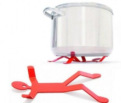 This metal hotman trivet is a cook's new best friend! Simply place him onto any flat surface on his back for large pots, and flip him over for small pots