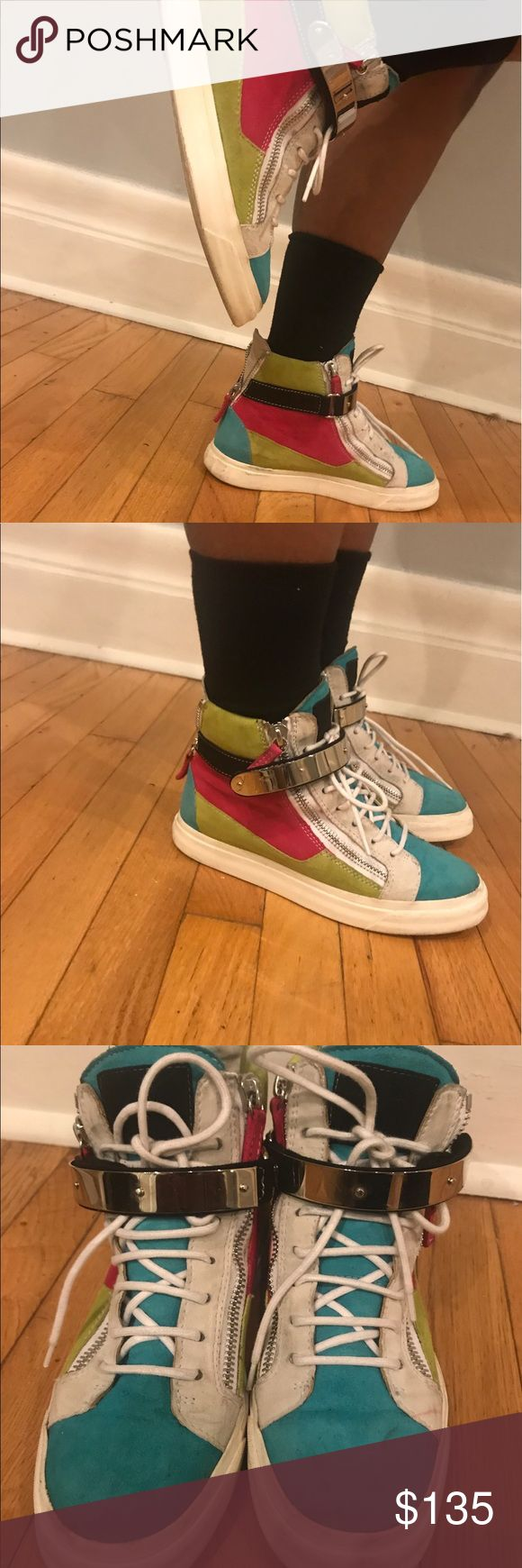 Authentic Giuseppe Zanotti sneaker w/ metal strap Authentic Colorblock Giuseppe Zanotti with metal strap. 7/10 condition. Suede can be cleaned easily.. Giuseppe Zanotti Shoes Lace Up Boots