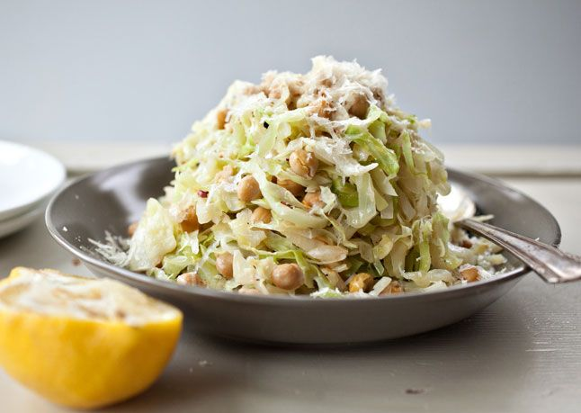 Spicy Sauteed Cabbage with Chickpeas and Parmesan