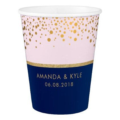 Navy Blue & Gold Confetti Dots & Pale Pink Design Paper Cup - confetti wedding wedding day party