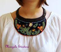 VERKAUF! Traditionelle rumänische Stickerei Halsband Halskette, Floral Halskette, Halsband Halskette, ethnische Bib Halskette Folk Halskette