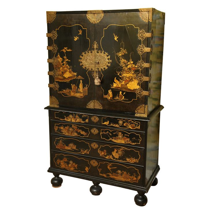 Rare William & Mary period japanned cabinet on chest with original cast gilt brass mounts, decorated with chinoiserie figures in landscapes, birds and butterflies,English or Dutch c. 1690.