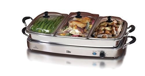 Stainless Steel Buffet Server 3 Warming Tray Three Pans Party Food Warmer 2.5QT #ElitePlatinum