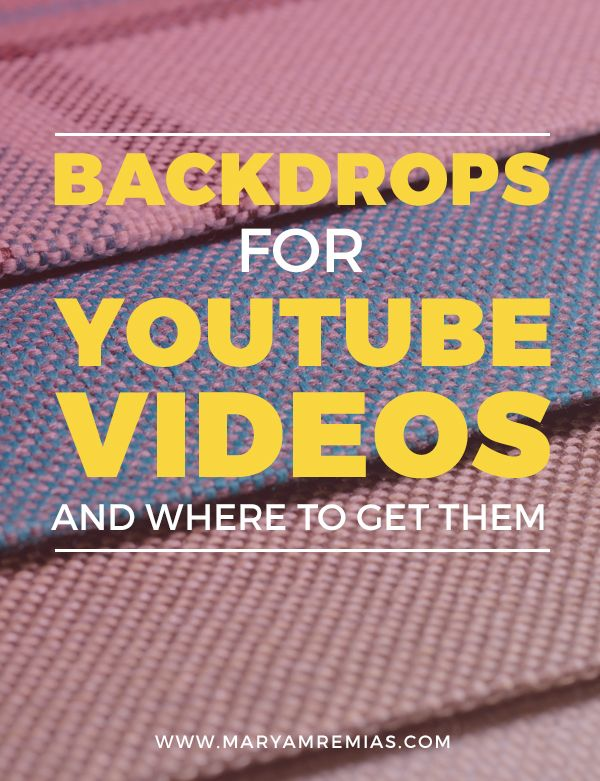 Here are five resources to find backdrops for YouTube videos, if you want to change up your set. Click through to read the post. http://www.maryamremias.com/backdrops-for-youtube-videos/