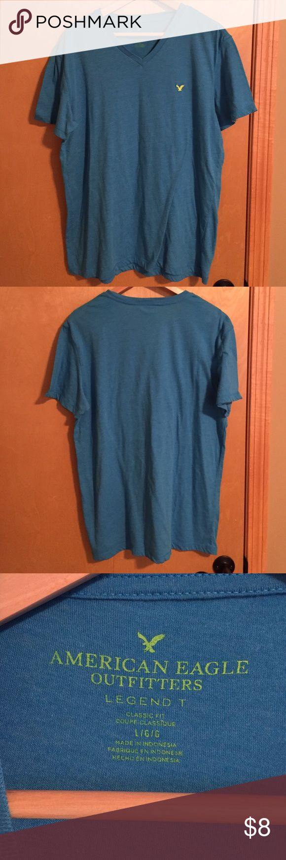 Men's American Eagle Large bright blue t-shirt Men's American Eagle Large bright blue t-shirt with neon yellow eagle logo- only worn a couple times American Eagle Outfitters Shirts Tees - Short Sleeve