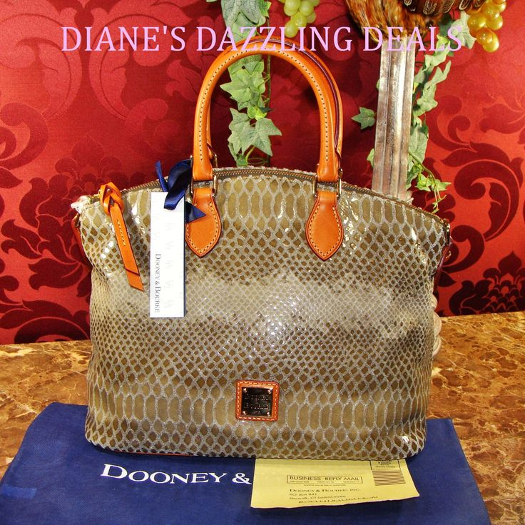 Dooney and Bourke NWT Snake Emb Leather Satchel / Bag Tasteful Taupe & Pretty !