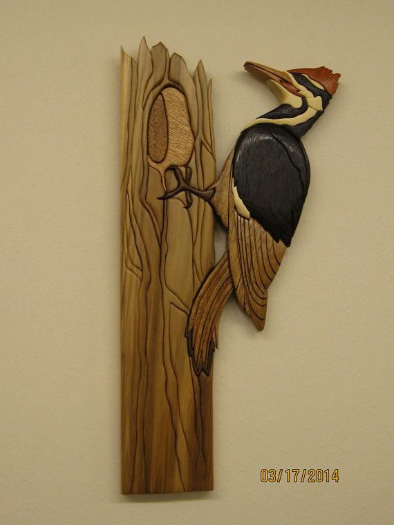 WOODPECKER PILEATED II Intarsia wood carved by by RAKOWOODS, $245.00