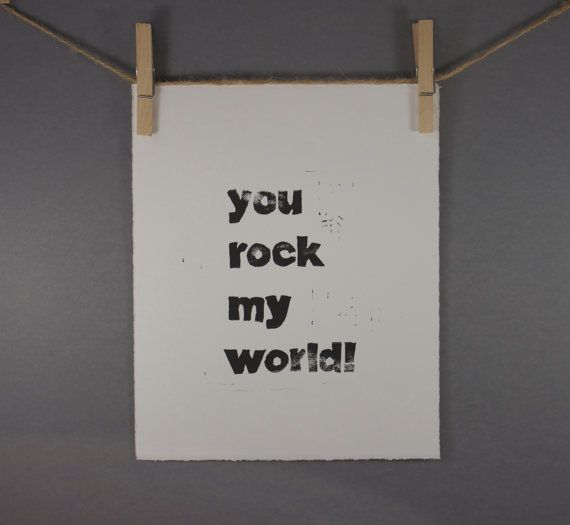 Typography Print You Rock My World Block PRINT by RetroModernArt