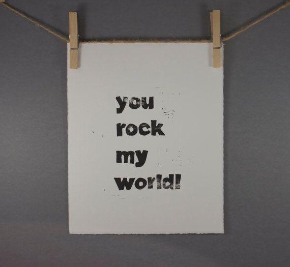 Typography Print You Rock My World Block PRINT in by modernlinocut