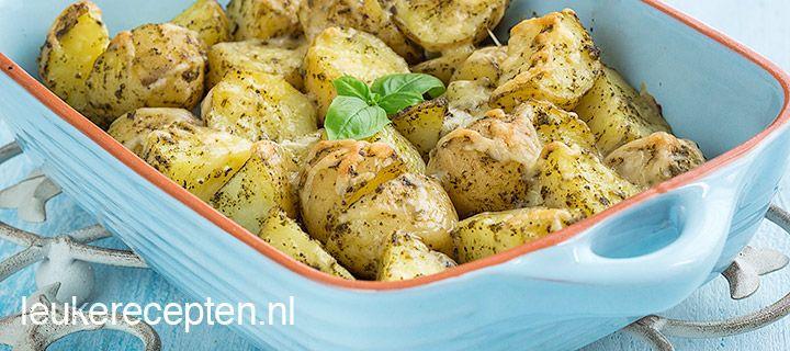 Pesto aardappels uit de oven