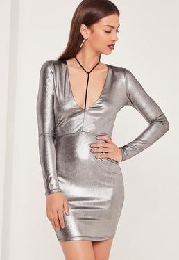 Harness Detail Metallic Bodycon Dress Silver