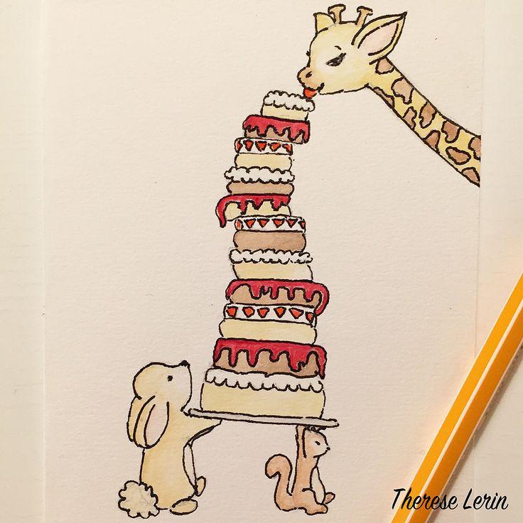 Painting, Illustrations, Giraffe, Rabbit, squirrel, cake, Happy Birthday, Yellow, Cute, Children, Art, Birthday cake, Bunny, Watercolor, watercolour