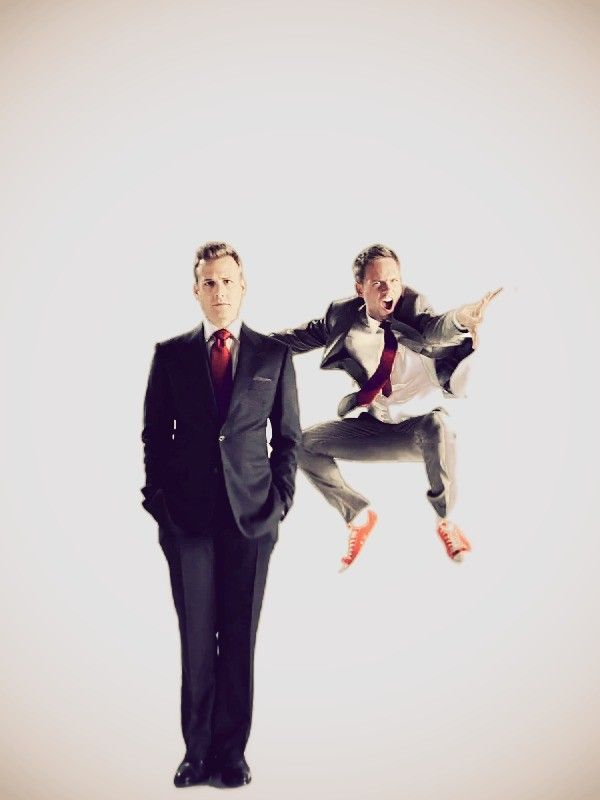 Gabriel Macht and Patrick J. Adams. This picture perfectly describes their relationship on the show.