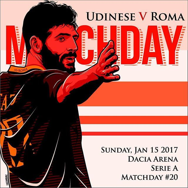 #MatchDay!  Carichi❓ Qual è il vistro pronostico per #UdineseRoma❓ *** #Udinese v #Roma is not far off❗️ What is your prediction for the game today❓ *** Follow @officialasroma on Instagram *** #DajeRoma #ForzaRoma #giallorossi #seriea #calcio #football #italia #fazio #graphic #infographic #design
