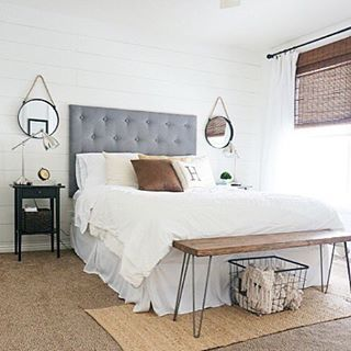 i love this room update by whitneyhoulin and the bench at the end of her bed would be such a fun diy