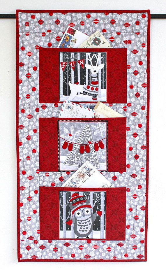 Christmas Card Holder Quilted Wall Hanging Gray Red