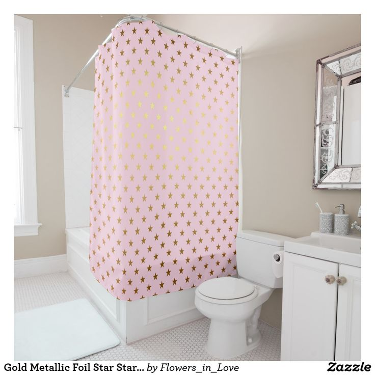 Gold Metallic Foil Star Stars Pink Rose Modern Shower Curtain