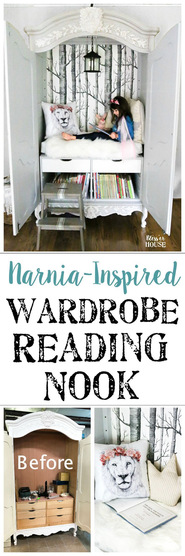 Narnia-inspired wardrobe reading nook / Dress up an old wardrobe cabinet as a cozy place for the kids to read.