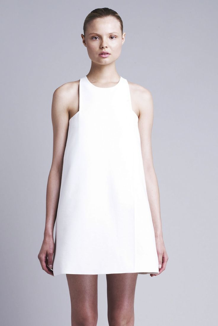 Chic white dress - minimal fashion; modern simplicity // Stella McCartney