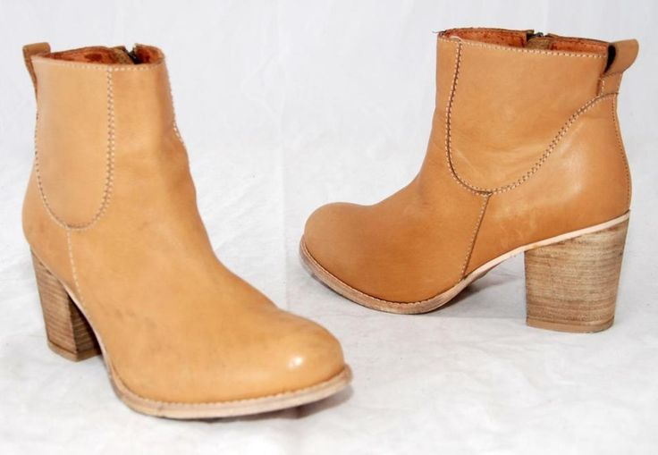 Sportsgirl Light Tan Genuine Leather Ankle Boots For Women Size 9
