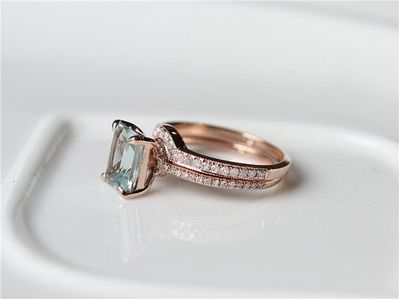 14K Rose Gold Aquamarine Wedding Ring Set 7x9mm Emerald Cut