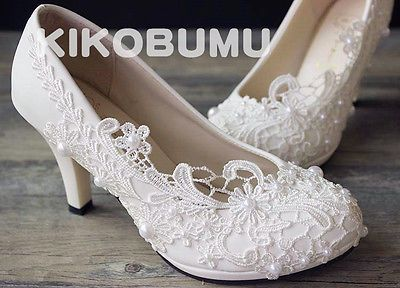 Vintage Lace Wedding Pump Party Bridal Bridesmaid Flat High Low Heels shoes 5-12
