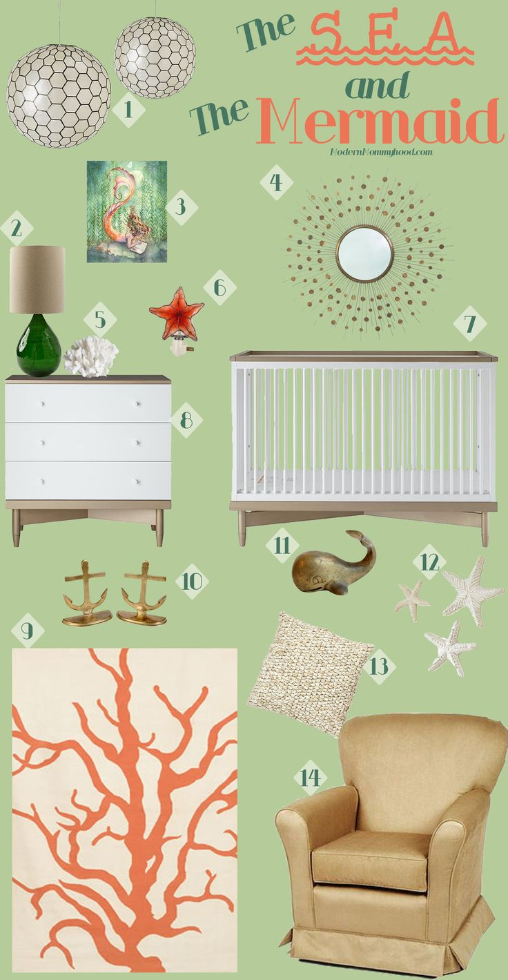The Sea and The Mermaid Nursery Design Board - a little girl's nautical themed nursery